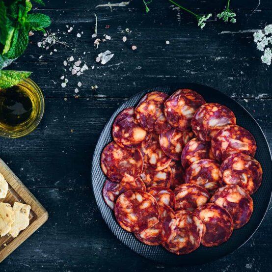 Chorizo Iberico spiral in a plate