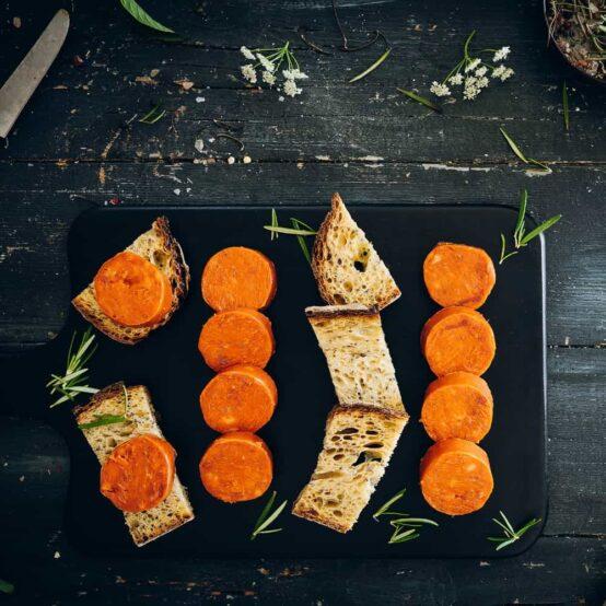 Sobrasada with bread in cutting-board